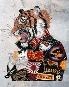 Come at me! Art Print by NVM Illustration *More Things & Stuff Art And Illustration, Dope Kunst, Wal Art, Tiger Art, Tiger Drawing, Doja Cat, Canvas Prints, Art Prints, Dope Art