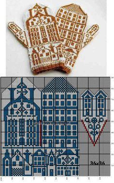 красивые варежки - votter mønster - colourwork mittens chart