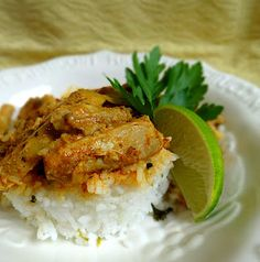 Super Simple Creamy Chicken Curry with Cilantro Lime Rice  Mason Jar Dinner    1 1/5-2 pounds boneless skinless chicken thighs  16 ounces favorite jarred salsa  1-2 T. curry powder  1/2 cup sour cream    1 1/2 cups basmati rice