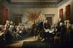 John Trumbull's Declaration of Independence, showing the five-man committee in charge of drafting the United States Declaration of Independence in 1776 as it presents its work to the Second Continental Congress in Philadelphia