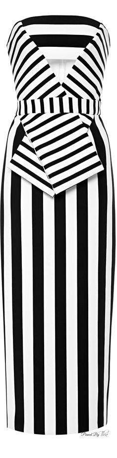 Cushnie et Ochs ● SS 2015, Striped Neoprene Strapless Dress