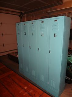 Our newest refinished treasures.....old school lockers for our mud room / drop space!  I love