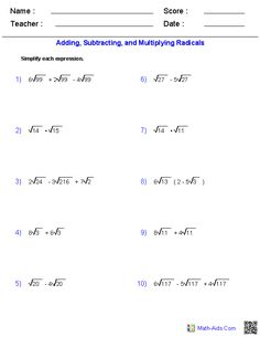 Worksheet Simplifying Radicals Worksheet Algebra 2 simplifying radicals and worksheets on pinterest these algebra 2 allow you to produce unlimited numbers of dynamically created radical functions worksheets