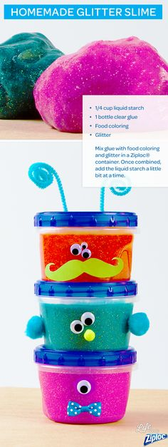 make DIY slime, stir 1 bottle of clear glue with food coloring and glitter in a Ziploc® container. Slowly add in ¼ cup of liquid starch to the slime ingredients. DIY glitter slime is a great no-mess rainy day activity and art project for kids. Projects For Kids, Diy For Kids, Crafts For Kids, Preschool Projects, Fun Crafts, Diy And Crafts, Arts And Crafts, Sensory Activities, Activities For Kids