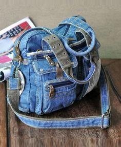 Retro Denim Shoulder Bags with Multi Pockets