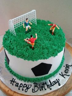 Soccer birthday cake with a car parked at the end. Make sheet cake. 75 Birthday Cake, Football Birthday Cake, Soccer Birthday Parties, Soccer Party, Cupcakes, Cupcake Cakes, Football Cakes For Boys, Soccer Ball Cake, Marble Cake Recipes
