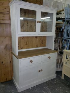 4ft Kitchen Dining Room Dresser Unit With Glazed Top Cupboards Painted In Farrow
