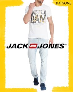 Something stylish, something trendy... Grab this one and many more at http://bit.ly/29AN0K9 #Kapsons #JackAndJones #TshirtsForMen