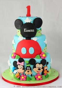 Mickey Mouse Club House and Friends 1st Birthday Cake By StrawberryLaneCakeCompany on CakeCentral.com