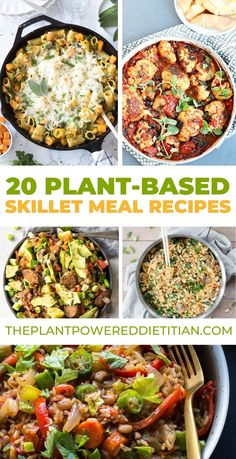 20 PLANT-BASED SKILLET MEAL RECIPES There's nothing quite like a well-done It solves all of your problems of getting on the table in minutes. One of the beauties of skillet meals is that they combine all of the major food groups— grains, Veggie Recipes, Whole Food Recipes, Diet Recipes, Vegetarian Recipes, Cooking Recipes, Healthy Recipes, Easy Vegetarian Dinner, Veggie Meals, Plant Based Diet Meals