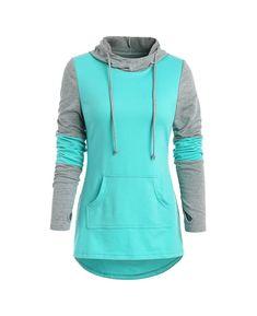 Kangaroo Pocket Armhole Two Tone Hoodie - Medium Turquoise - - Women's Clothing, Women's Hoodies & Sweatshirts # Style Casual, Men Casual, Style Men, Mode Chic, Hoodie Dress, Hoodie Outfit, Sweat Shirt, Outerwear Women, Pattern Fashion