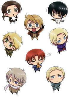 Hetalia! There's Austria, America, Japan, England, France, Russia, Italy, and Germany!