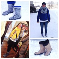Co-founders of TwoAlity, @Bailye_Sue & @Brynne_Kayt, wearing the product they designed & patented, #BootsByTwoAlity! #Happy #SnowInMO #MadeintheUSA #Twins #SnowBoots #RainBoots #ClearBoots