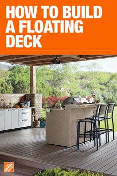 5 Steps to the Perfect Backyard: Build a Floating Deck Ashley Basnight of Handmade Haven created her backyard oasis. Find out how to build a floating deck and DIY chevron privacy wall perfect for entertaining. Backyard Bar, Backyard Patio Designs, Adirondack Furniture, Outdoor Furniture Sets, Adirondack Chairs, Cabana, Building A Floating Deck, Diy Deck, Diy Pergola