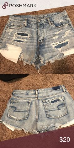 Shop Women's American Eagle Outfitters size 10 Jean Shorts at a discounted price at Poshmark. American Eagle Outfits, American Eagle Sweater, American Eagle Shorts, American Eagle Outfitters Shorts, Denim Shorts Style, Ripped Jeans Outfit, Jean Shorts, Ae Jeans, Ripped Shorts