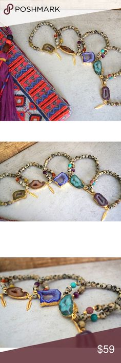 [⭐️HP] Druzy Stone & Dalmatian Jasper Bracelets Gorgeous Gold plated Druzy pendant stretch bracelets with Dalmatian Jasper beads. Finished with the Gold pendant feather charm. Size and shape will vary sightly w/ pendants. Vibrant colors w/ 5 different gemstones:  Turquoise  Turquoise  Purple  Purple Agate  Mauve  Indian Agate  Brown  Orange Agate  Lime Green  African Turquoise   Made with ❤️ in California   NWT Retail - Price Firm unless bundled (15% off 2+ Items) Listing is for 1 Bracelet…