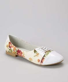 Heavens to Betsy! This rose floral White Lace-Up Flat is perfect! #zulilyfinds