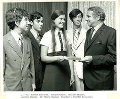 L to R - Richard Huberman, Richard Pollack, Maureen McGarr, Laurence Hannan, and Mr Henry Clayman (president of Two Ten)