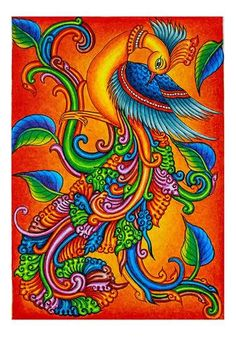 The painting is hand painted by renowned kerala mural artist Viji Murugan Kerala Mural Painting, Buddha Painting, Tanjore Painting, Madhubani Painting, Peacock Wall Art, Peacock Painting, Fabric Painting, Indian Traditional Paintings, Indian Art Paintings
