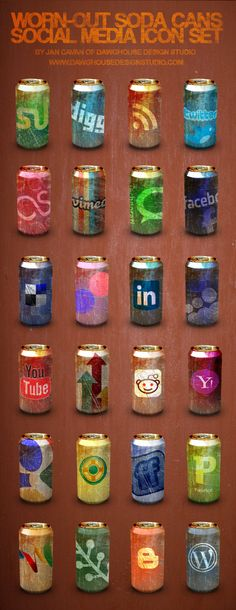 Wicked cool - worn-out (vintage!) social media icon cans.  Good job!  By Jan Cavan.