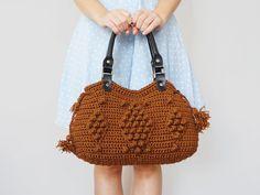 BAG // Brown Tote Bag Shoulder Bag  Winter bag Crochet bag Genuine Leather Black Handles Valentine's Day