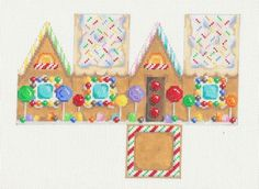 Associated Talents 3 D Lollipop Gingerbread House Handpainted Needlepoint Canvas | eBay