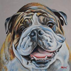 """alex's bulldog 24x24"""" oil on canvas by dragoslav drago milic"""