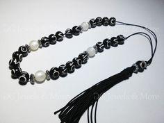 Komboloi Greek Worry beads black bone relief white acrylic 10mm bead spacer bead