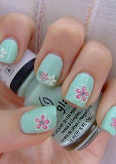 Grøn Pastel  med blomster