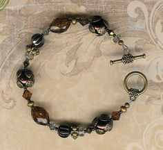 Antique Chocolate Brown Pearls and Swarovski by myjuliejewels, $14.95
