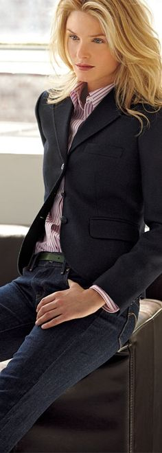 My Favorite Look On A Friday At Work - Tailored And Buttoned Up With Jeans.