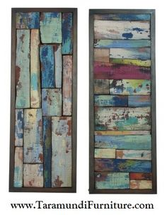 $475 Pair. Salvaged Wood Wall Decor! Buy Now! http://www.taramundifurniture.com/category_s/1859.htm Reclaimed Wood Wall Art, Coastal Cottage Wall Decor, Colorful Wall Art, Large Wall Decor