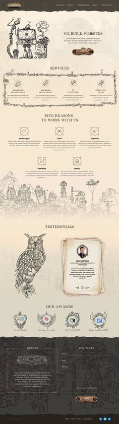 The site we created combines creative steampunk ideas with modern approach to design and wonderful transformation into a webpage that attracts customers from a first glance Best Web Design, Site Design, Ux Design, Graphic Design, Web Themes, How To Attract Customers, Web Design Inspiration, Website Template, Edm