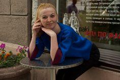 Double sided neoprene box top. Neoprene blouse. Blue от H2Ofashion