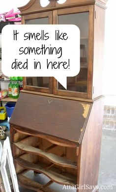 how to get gross smells out of old furniture, cleaning tips, garages, painted furniture Furniture Repair, Repurposed Furniture, Furniture Projects, Furniture Making, Furniture Makeover, Antique Furniture, Painted Furniture, Furniture Cleaning, Rustic Furniture