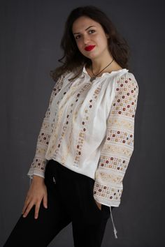 handmade hemstitch embroidery - worldwide shipping - Romanian Blouse - ie romaneasca - boho style - bohemian - ethnic fashion folk costume