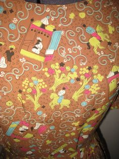 1940s Middle East novelty print fabric