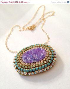 JULY 4TH SALE Wow purple druzy necklace by YaronaJewelryDesign, $110.42