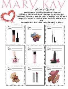 The Mary Kay Name Game - finally updated! Earn free product by referring your…