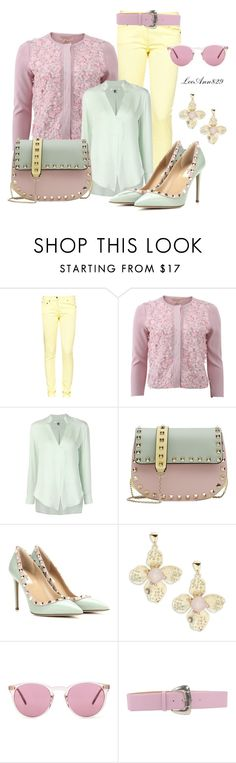 """""""3 color combo"""" by leeann829 ❤ liked on Polyvore featuring Great Plains, Giambattista Valli, Halston Heritage, Valentino, R.J. Graziano, Oliver Peoples, Giordano Frangipani, yellow, floral and Pink"""