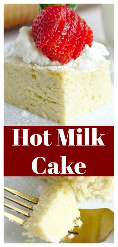 <br> Hot Milk Cake - A classic cake that is a great way to use up extra milk that you have on hand! Made in less than an hour with simple ingredients, this is going to be a new favorite! Brownie Desserts, Oreo Dessert, Mini Desserts, Bon Dessert, Easy Desserts, Delicious Desserts, Milk Recipes, Easy Cake Recipes, Dessert Recipes