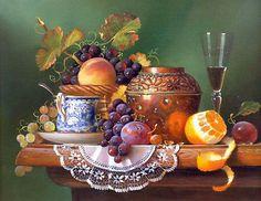 Stunning Oil painting still life fruits grape peach orange pot wine cup canvas