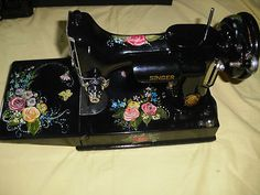 Singer Featherweight 221 Sewing Machine Featuring Hand Painted Roses and Florals | eBay