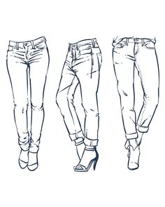 Hand drawn fashion Collection of men's jeans. clipart