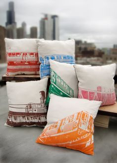 I need these for my next couch.   Chicago el pillows SET OF SIX by ZerobirdStudio on Etsy, $235.00