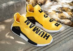Adidas- X Pharrell Williams NMD HU Human Race New Yellow Athlete Running  Shoes  adidas  AthleticSneakers 32ab25e63