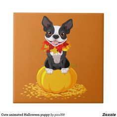 Cute animated Halloween puppy Tile