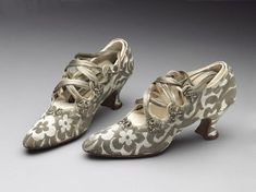 1914 Brocade Shoes by Peter Robinson Ltd. (retailer), used as part of a wedding ensemble, via Victoria and Albert Museum Collection, London.