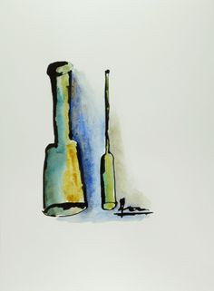 """""""Bottles"""" (2010) - by Petros Devolis - Ink and diluted acrylic colors on aquarelle paper 21 x 28,5 cm (8.27 x 11.22 in) #art #bottles #painting  www.about.me/devolisarts www.facebook.com/devolisarts www.twitter.com/devolisarts"""