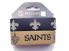 NFL New Orleans Saints Silicone Rubber Bracelet 2Pack >>> Click image to review more details.